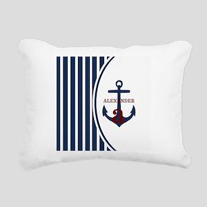 Anchor and Stripes Monog Rectangular Canvas Pillow