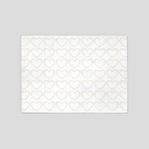 Romantic Spring Cream Hearts Pattern 5'x7'Area Rug