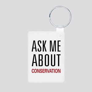 Ask Me About Conservation Aluminum Photo Keychain
