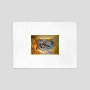 Barn owl, bird art, 5'x7'Area Rug