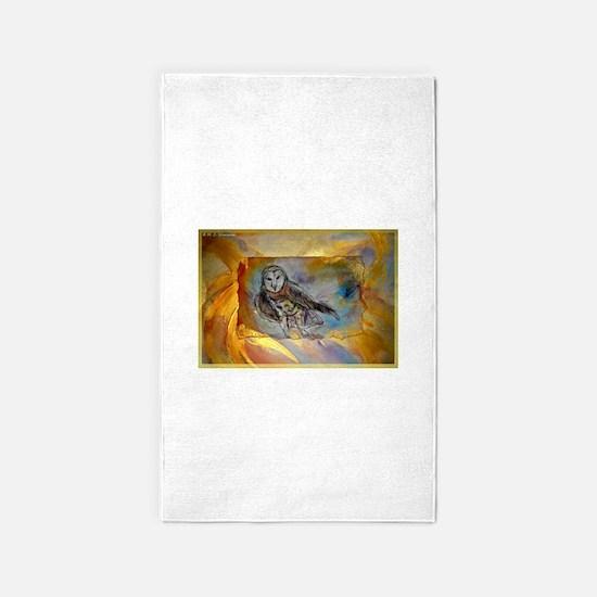 Barn owl, bird art, 3'x5' Area Rug
