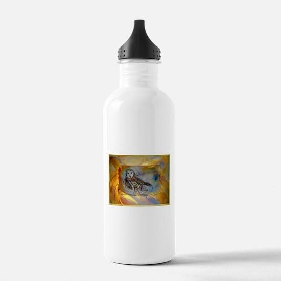 Barn owl, bird art, Water Bottle
