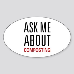 Ask Me Composting Oval Sticker
