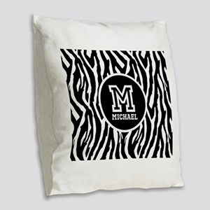 Zebra Animal Print Personalized Monogram Burlap Th