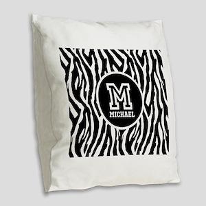 Zebra Animal Print Personalized Monogram Burlap Th