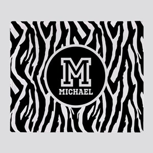 Zebra Animal Print Personalized Monogram Throw Bla