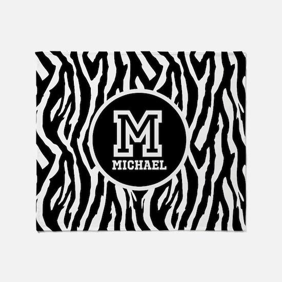 Zebra Animal Print Personalized Monogram Throw Bla