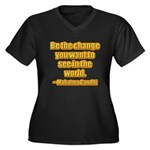 Gandhi Quote Women's Plus Size V-Neck Dark T-Shirt