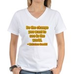 Gandhi Quote Women's V-Neck T-Shirt