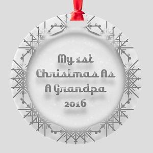 1St Christmas As A Grandpa 2016 Ornament