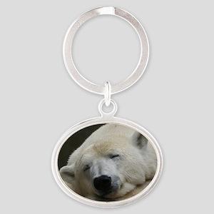 Polar bear 011 Oval Keychain