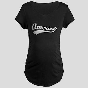 Sporty Wavy America Patriotic Maternity T-Shirt