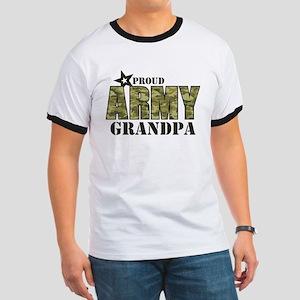 Camo Proud Army Grandpa Ringer T