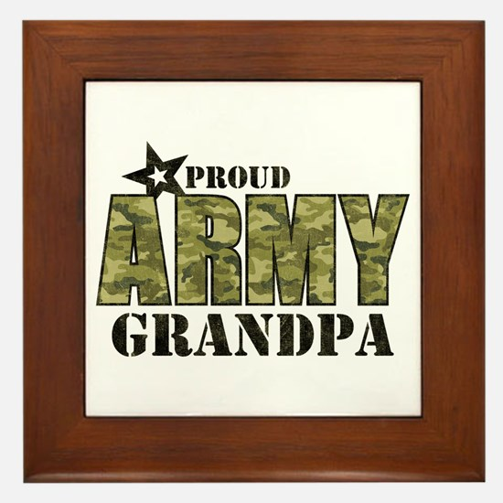 Camo Proud Army Grandpa Framed Tile