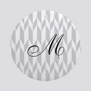 Monogram and Gray Graphic Pattern Ornament (Round)