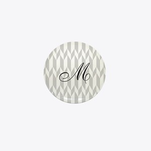 Monogram and Gray Graphic Pattern Mini Button