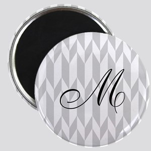 Monogram and Gray Graphic Pattern Magnets