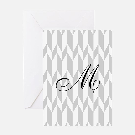 Monogram and Gray Graphic Pattern Greeting Cards