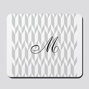 Monogram and Gray Graphic Pattern Mousepad