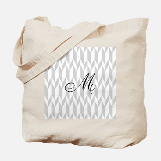 Monogram and Gray Graphic Pattern Tote Bag