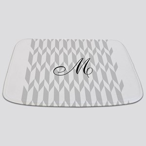 Monogram and Gray Graphic Pattern Bathmat