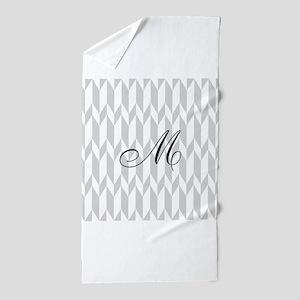 Monogram and Gray Graphic Pattern Beach Towel