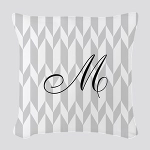 Monogram and Gray Graphic Pattern Woven Throw Pill