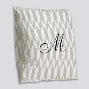 Monogram and Gray Graphic Pattern Burlap Throw Pil