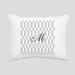 Monogram and Gray Graphic Pattern Rectangular Canv
