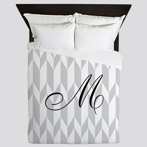Monogram and Gray Graphic Pattern Queen Duvet