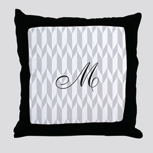 Monogram and Gray Graphic Pattern Throw Pillow