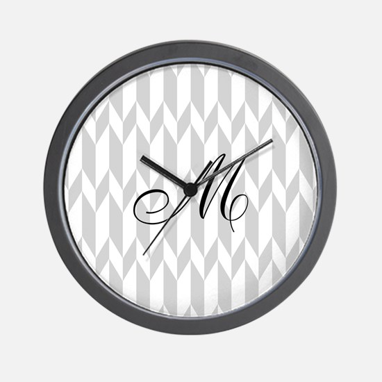 Monogram and Gray Graphic Pattern Wall Clock
