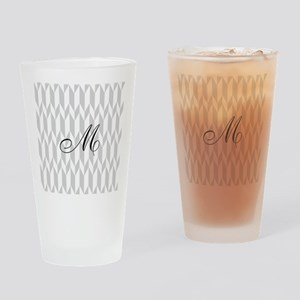 Monogram and Gray Graphic Pattern Drinking Glass