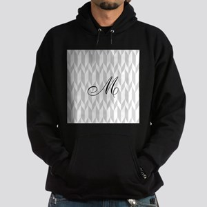 Monogram and Gray Graphic Pattern Hoodie