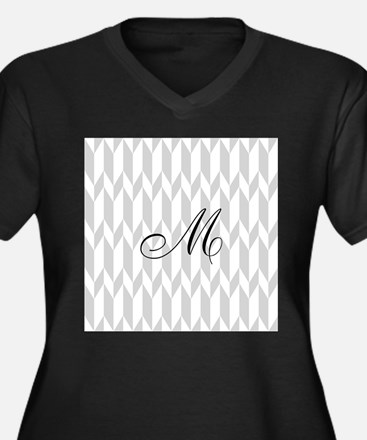 Monogram and Gray Graphic Pattern Plus Size T-Shir