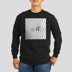 Monogram and Gray Graphic Pattern Long Sleeve T-Sh