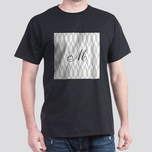 Monogram and Gray Graphic Pattern T-Shirt
