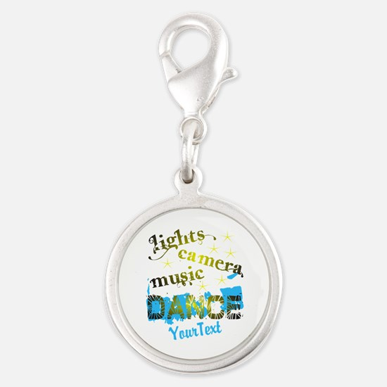 Lights Dance Optional Text Silver Round Charm