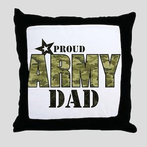 Camo Proud Army Dad Throw Pillow