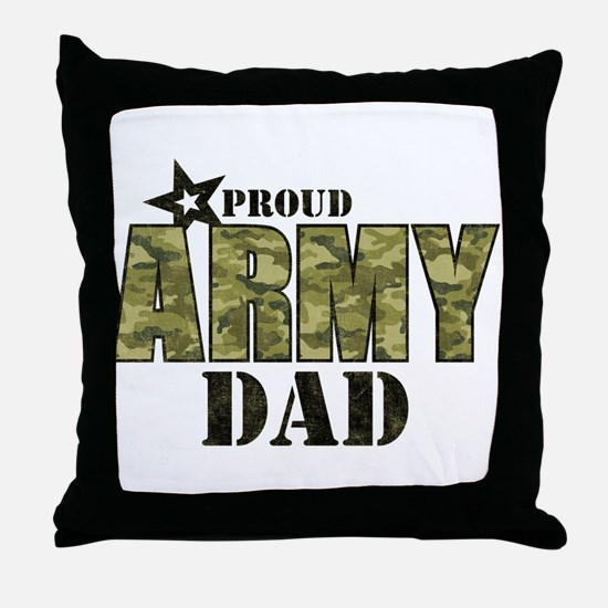 Camo Proud Army Dad Throw Pillow