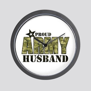 Camo Proud Army Husband Wall Clock