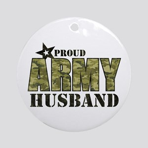 Camo Proud Army Husband Ornament (Round)