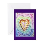 Rainbow Heart Cancer Greeting Cards (Pk of 10)