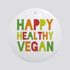 Happy Vegan Ornament (Round)