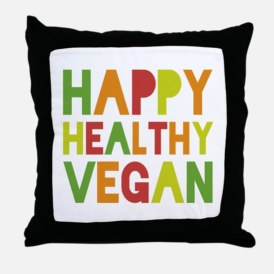 Happy Vegan Throw Pillow