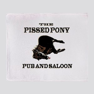 The Pissed Pony Throw Blanket