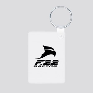 F-22 Raptor Black Logo Aluminum Photo Keychains