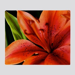 Spring Orange Lilly  Throw Blanket