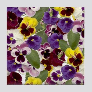 Lovely Pansies Tile Coaster