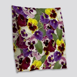Lovely Pansies Burlap Throw Pillow